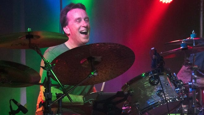 David Corcoran plays drums during a 2016 gig at Lakesiders (formerly the Penny Arcade).