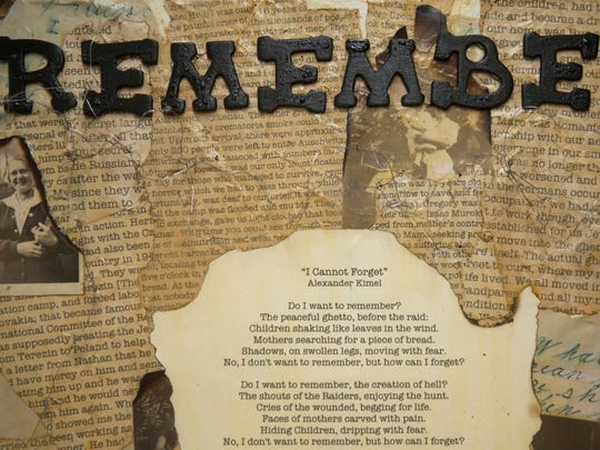 A collage entitled 'Remember' made by Rosa International Middle School eighth-grade student Landen Tennenbaum is displayed in the Goodwin Holocaust Museum and Education Center located in the the Katz Jewish Community Center in Cherry Hill.