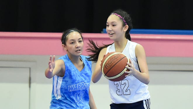 With the graduation of All-Island player Joylyn Pangilinan, the future of the St. Paul Warriors basketball program could lay in the hands of Haley Senne (blue) and Chloe Miranda (white) who both play for the U18 Guam national girls basketball team.