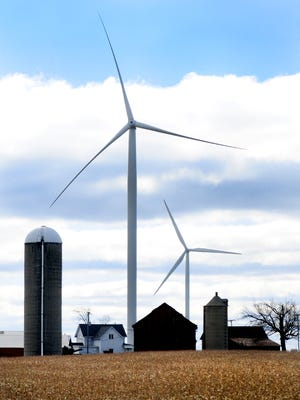 Wind turbines in the town of Glenmore in Brown County.