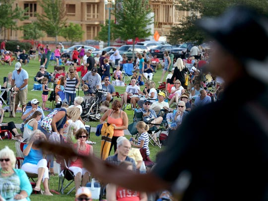 The Blue River Band performs at the Nickel Plate Amphitheater, Tuesday, July 8, 2014.