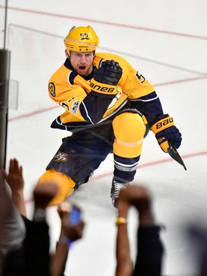 Predators left wing Cody McLeod (55) celebrates his goal during the second period in game 3 of the second round NHL Stanley Cup Playoffs at the Bridgestone Arena Sunday, April 30, 2017, in Nashville, Tenn.