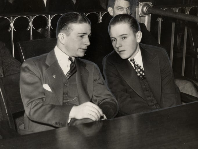 Jockey Willie Saunders, right, who piloted Omaha to victory in the 1935 Kentucky Derby, and Schaeffer, left, exercise boy, sat together in court where the machinery of the law was grinding out what they must pay the piper. If anything, for playing the death tune for Mrs. Evelyn Silwinski.