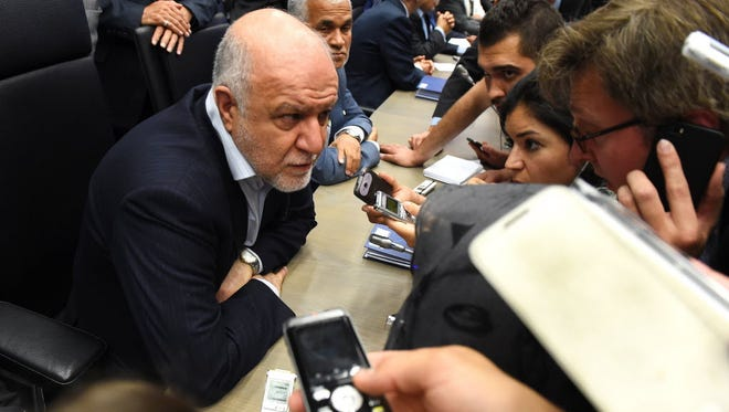 Iran's Minister of Petroleum Bijan Zangeneh speaks to journalists during the 167th ordinary meeting of OPEC (Organization of the Petroleum Exporting Countries) at OPEC's headquarters in Vienna on June 5, 2015.