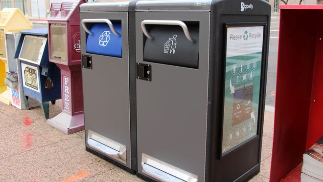 Bigbelly bins utilize solar power to compact trash, holding more than eight times a traditional trash can. The bins also notify Phoenix officials once full via text message.