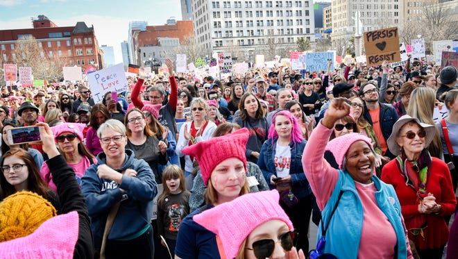 Marchers gather during the Women's March at Public Square Park in Nashville, Tenn., Saturday, Jan. 20, 2018.