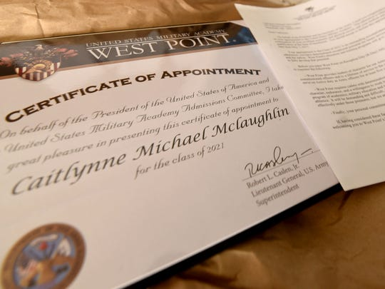 Caitlynne McLaughlin's letter and certificate of appointment to West Point.