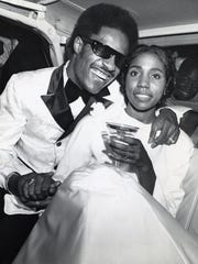 "Stevie Wonder and Syreeta Wright, co-writer of ""Signed Sealed Delivered,"" on their wedding day at Detroit's Bernette Baptist Church."