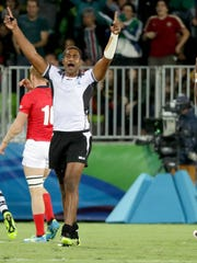 Team Fiji celebrates a win over Great Britain for the gold during a rugby sevens gold medal match at Deodoro Stadium in the Rio 2016 Summer Olympic Games Aug. 11 in Rio de Janeiro, Brazil.