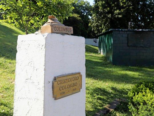 A bust of Columbus in Columbus Park in Yonkers, N.Y.,