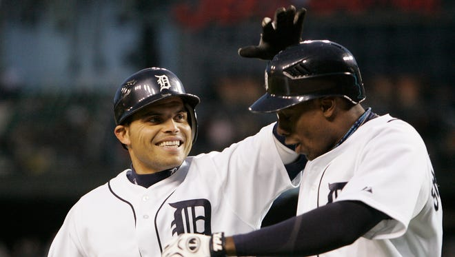 Pudge Rodriguez, left, had a career batting average of .298 in 611 games with the Tigers.