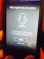 The Colts app asks users for access to the phone's