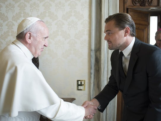 Pope Francis welcomes Leonardo DiCaprio during a private