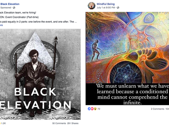 Two of the posts flagged by Facebook