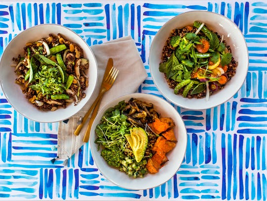 Bowls at Flower Child include healthy proteins, a variety