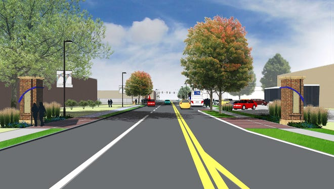 This rendering shows the southern entry to the Roosevelt shopping district from near Interstate Highway 235.