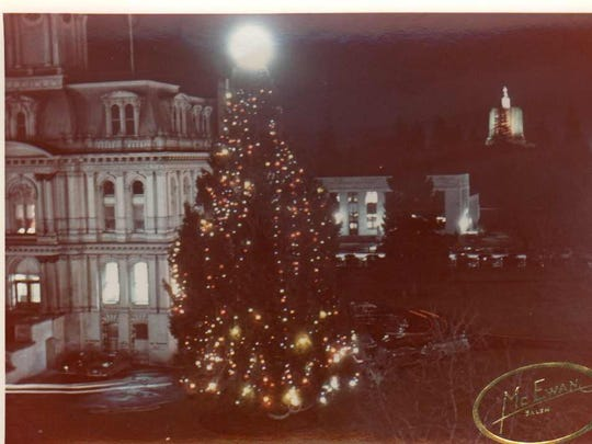 The Norway spruce at the old Marion County Courthouse is decorated in 1947.