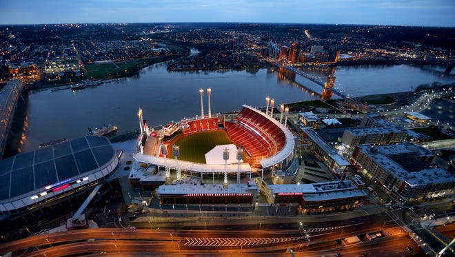 Great American Ball Park in downtown Cincinnati before Opening Day 2015. The photo is shot from the Great American Tower at Queen City Square.
