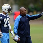 San Diego Chargers cornerback Craig Mager (29) listens to assistant defensive back coach Greg Williams (R) during organized team activities at Charger Park.