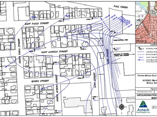 A map detailing the groundwater delineations of the former Ithaca Gun site.