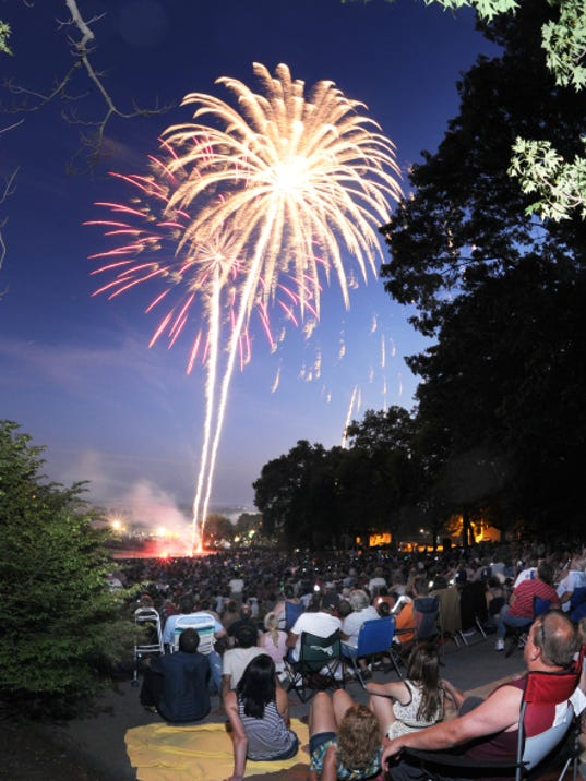 A crowd watches the fireworks display at Coleman Memorial Park in Lebanon. This year's display will be on Saturday.