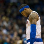 Carmelo Anthony looks on against the Minnesota Timberwolves at Target Center.