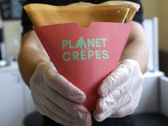 Mihran Sirekan, owner of Planet Of The Crepes, makes