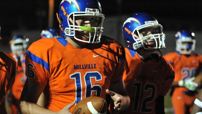 Millville quarterback Will Polhamus (16) before their game against Egg Harbor Township on Friday at Wheaton Field.
