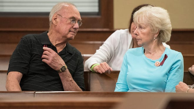 "Bob and Carol Stislicki, grandparents of Danielle Stislicki, missing since December 2nd, 2016, wait in 16th district court for the arraignment of Floyd Russell Galloway on kidnapping and sexual assault charges in a September incident in Hines Park. He is described as a ""person of interest"" in the Stislicki case."