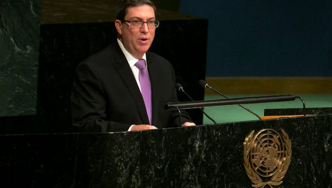 Cuban Foreign Minister Bruno Rodriguez addresses the United Nations General Assembly on Oct. 27, 2015. The body later voted 191-2 to condemn the U.S. economic embargo on Cuba.