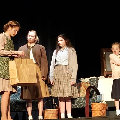 """Mallory Bolser, Elijah Fecher, Molly Gard, Karaline Byers and Aleka Turner rehearse """"Number the Stars"""" for Stage One Youth Theatre."""
