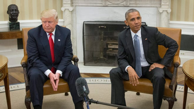 President Obama meets then President-elect Donald Trump at the White House on Nov. 10, 2016.