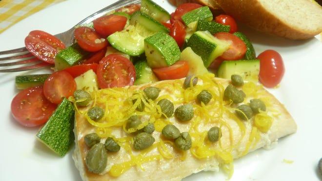 Lemon-flavored halibut with warm zucchini salad.