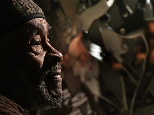 Artist Charles McGee,84, in his studio in Detroit,Wednesday,