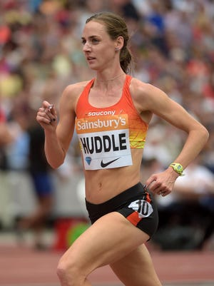 Elmira native Molly Huddle runs to a second-place finish in the women's 10,000 at the London Diamond League meet on July 25.
