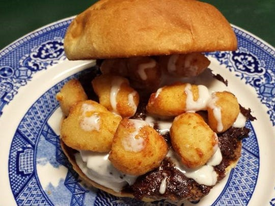 The Fabulous Half Naked Cheese Curd Burger from the Wrangling Grace Cafe in Bancroft.