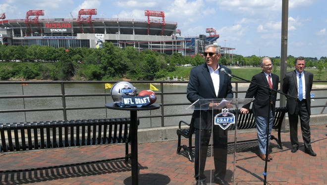 Nashville Convention and Visitors Corp. President and CEO Butch Spyridon, Mayor David Briley and Tennessee Titans Senior Vice President Stuart Spears address the media May 23 regarding the announcement that Nashville will host the 2019 NFL Draft. The Metro Event Marketing Fund committee doled out $3.9 million on Tuesday for tourism-related events coming to Nashville in the next year, including $700,000 for the NFL Draft.