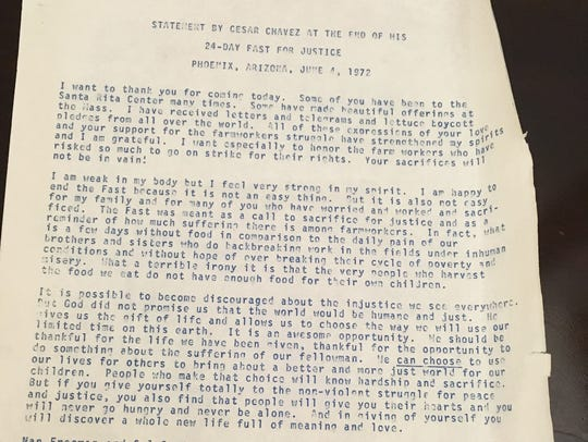 The statement Cesar Chavez made at the conclusion of