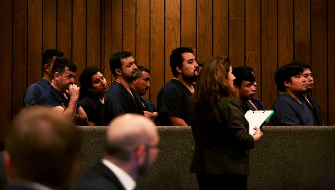 November 30, 2017 - 10 immigrants who were arrested at a logistics company Tuesday morning appear in front of Judge Loyce Lambert Ryan in General Sessions Court for their arraignments at the Shelby County Criminal Justice Center on Thursday. (Yalonda M. James/The Commercial Appeal)