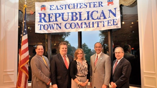 The Eastchester Republian Committee has announced its slate for the November Elections. From left to right: Receiver of Taxes Rocco Cacciola, Town Councilman Glenn Bellitto, Judge Janet Calano, Supervisor Anthony S. Colavita and Judge Domenick Porco.