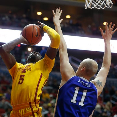 Iowa State forward  Merrill Holden (5) shoots over