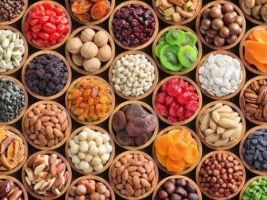 Assorted nuts and dried fruits.