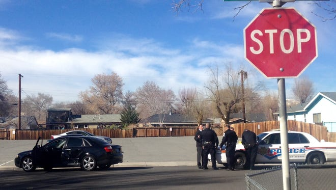Sparks police at the scene of a possible shooting near J Street and Stanford Way.