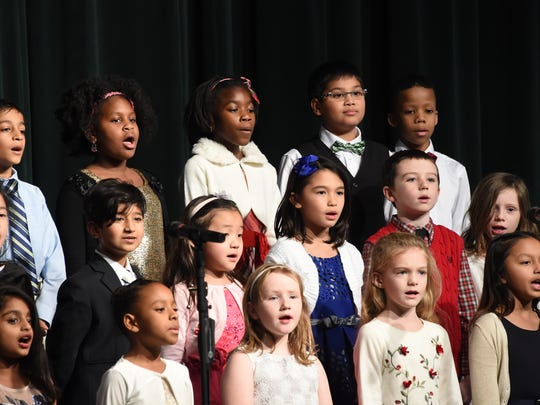 Second and third graders perform during the Lower School Winter Concert.