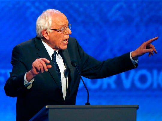 Bernie Sanders speaks during a Democratic presidential
