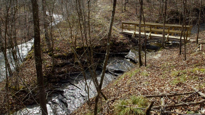 A bridge, built as an Eagle Scout project, crosses a creek at Beaman Park, which features 1,500 acres filled with walking trails and more.