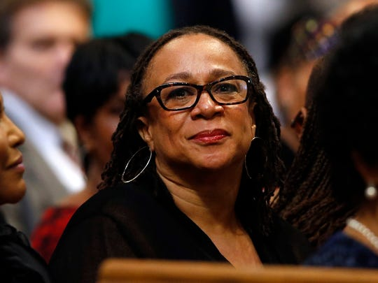 Actress S. Epatha Merkerson attends a memorial service for actress Ruby Dee.