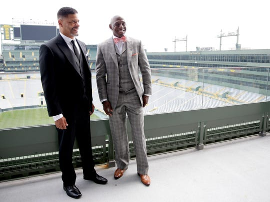 Green Bay Packers Hall of Fame inductees Mark Lee, left, and Donald Driver at Lambeau Field on July 22, 2017.