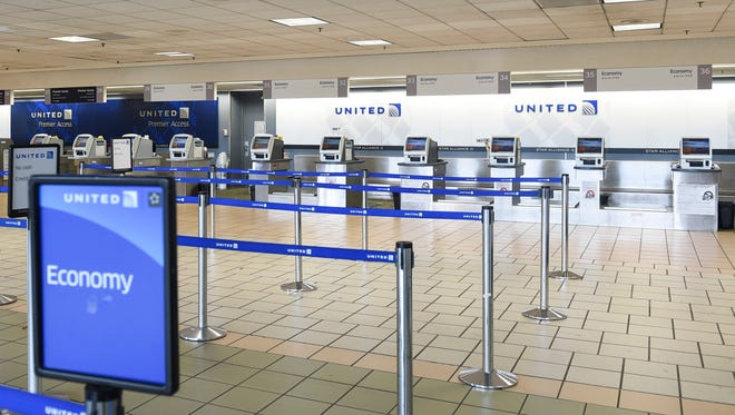 The United Airlines check-in area at the Antonio B. Won Pat International Airport on Oct. 6, 2017.