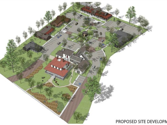 Renderings of the Mayberry Gardens office park proposal planned for the Caughlin Ranch House site.